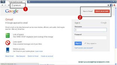 Langkah awal Membuat Email baru pada Gmail.