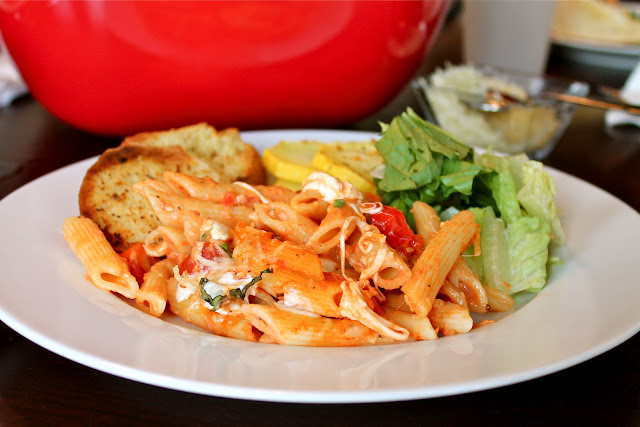 Creamy Caprese Pasta Bake via The Taste Tester