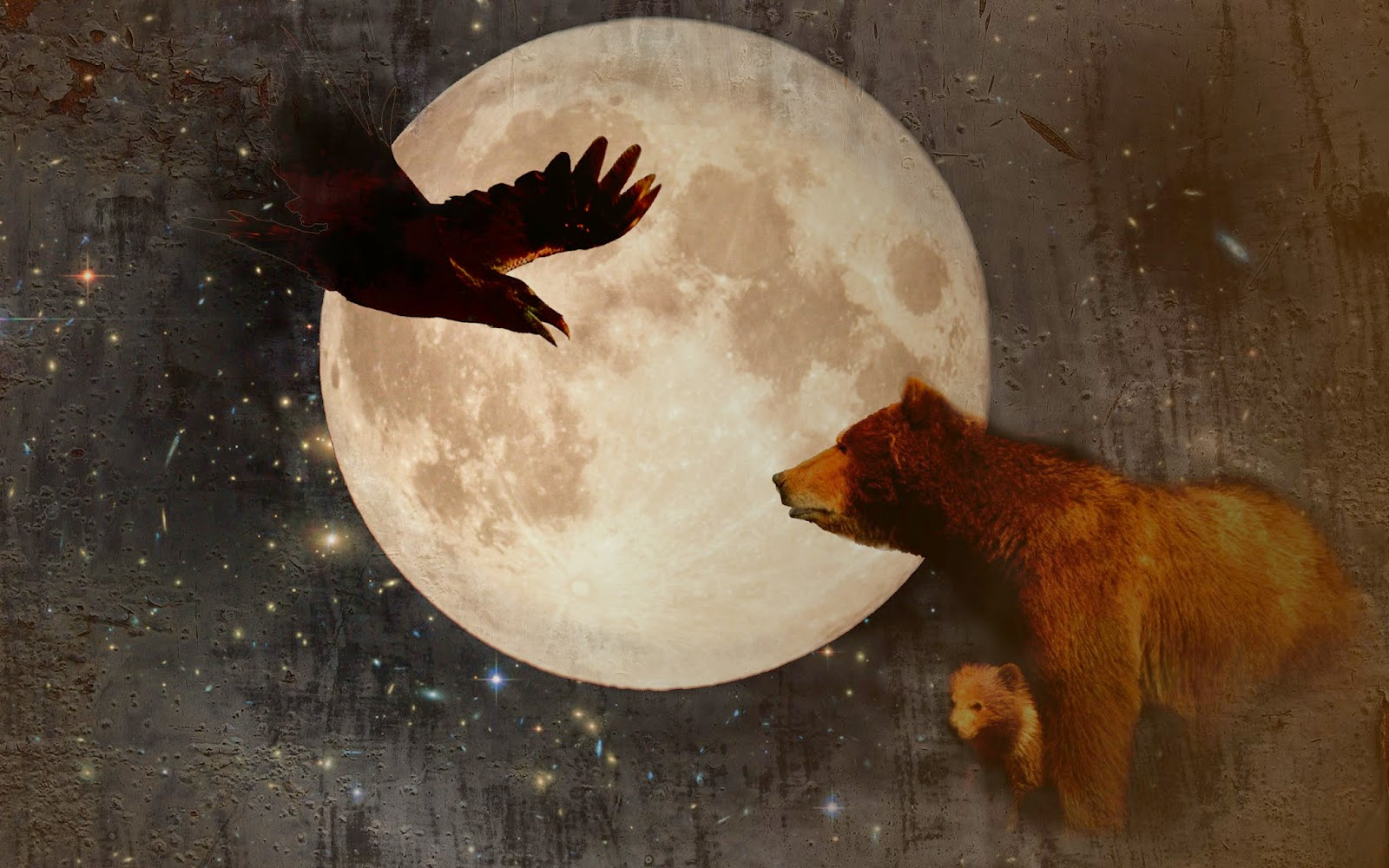 Raven and Bear in front of moon