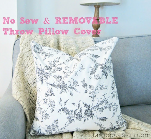 Make Removable Throw Pillow Covers : Amanda Rapp Design: No Sew Removable Pillow Covers