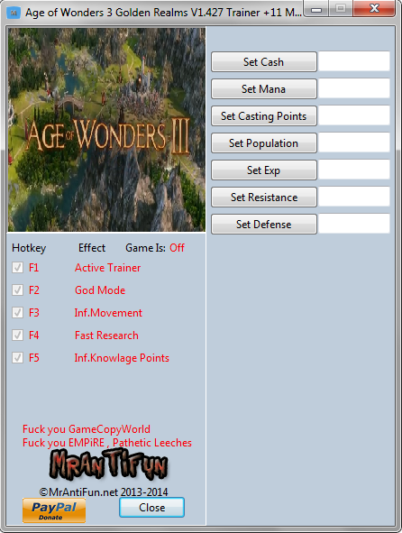 Age of Wonders 3 Golden Realms V1.427 Trainer +11 MrAntiFun