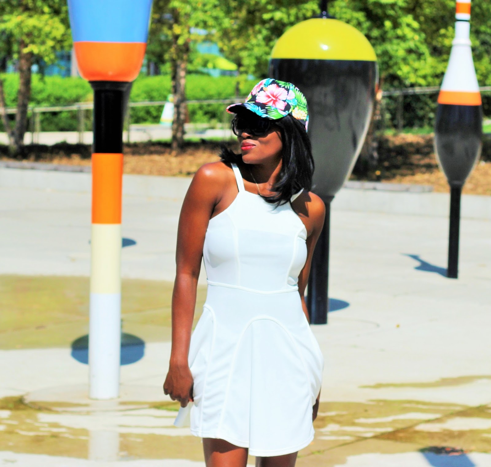 Little White Dress and A Floral Baseball Hat by Karma Kreations