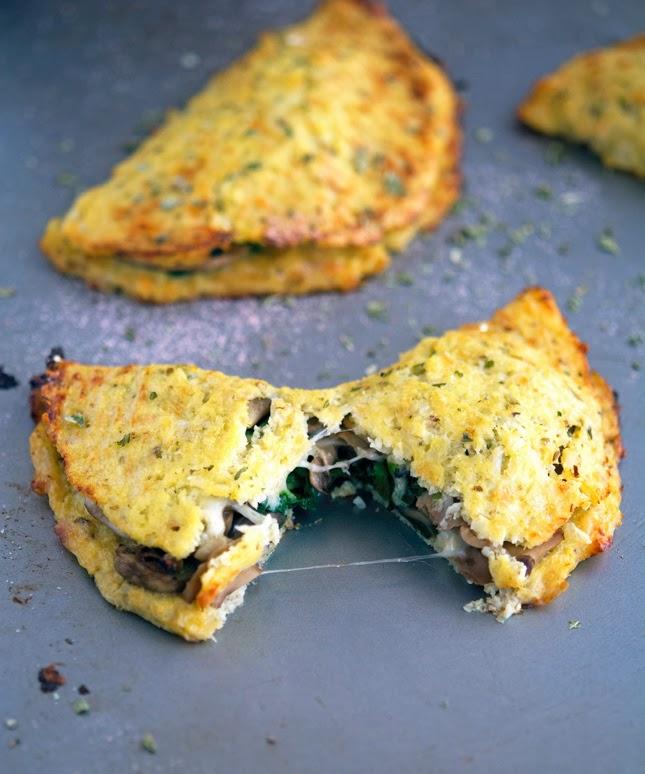 The Iron You: Cheese Mushroom and Spinach Cauliflower Crust Calzone