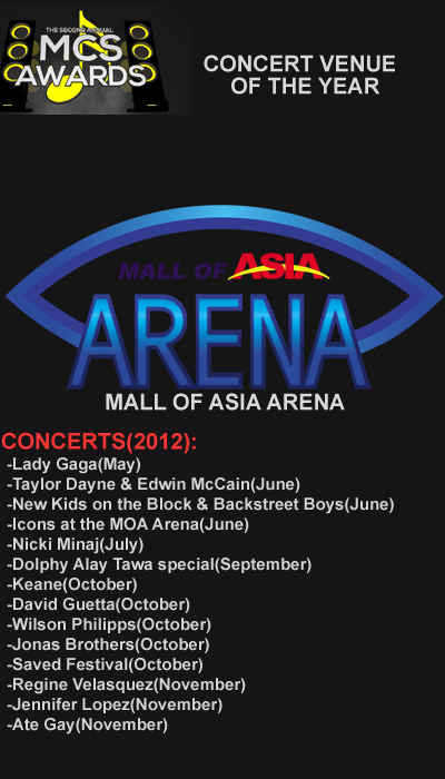 Congratulations Mall of Asia Arena as the best concert venue of 2012