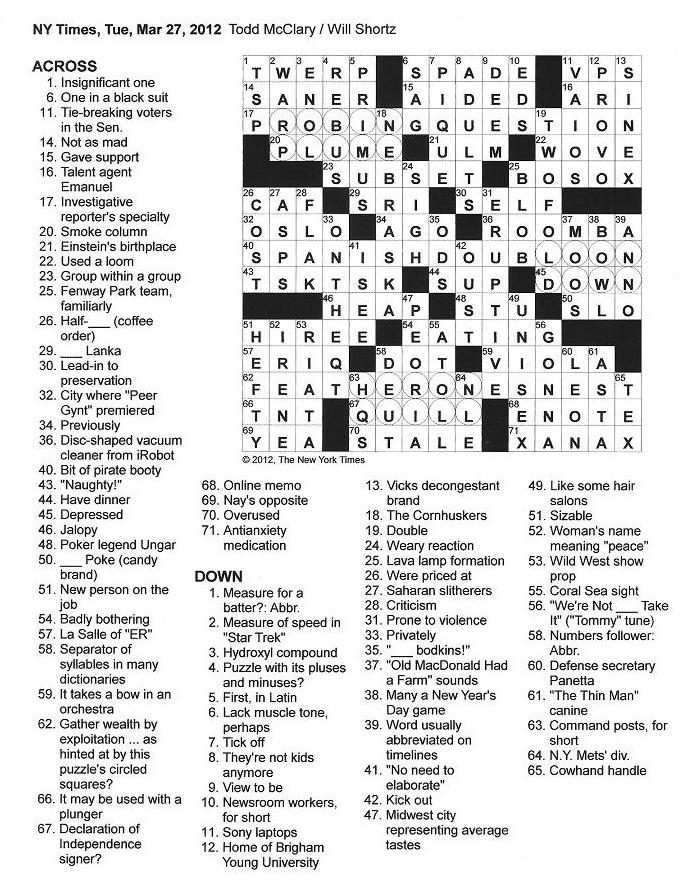 Crossword Puzzle Clues