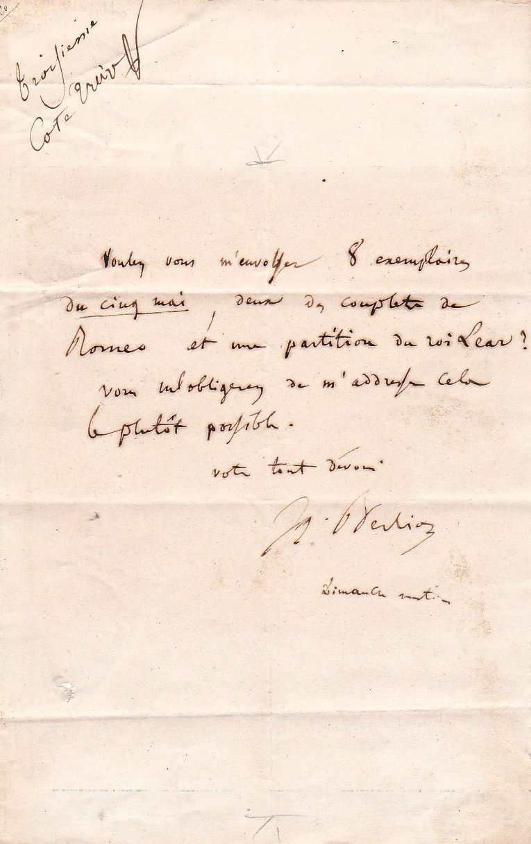 Hector Berlioz autographed letter seeking his scores after their printing