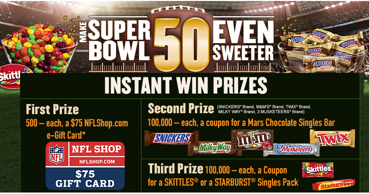 Coupons And Freebies: Make Super Bowl 50 Even Sweeter Instant Win ...