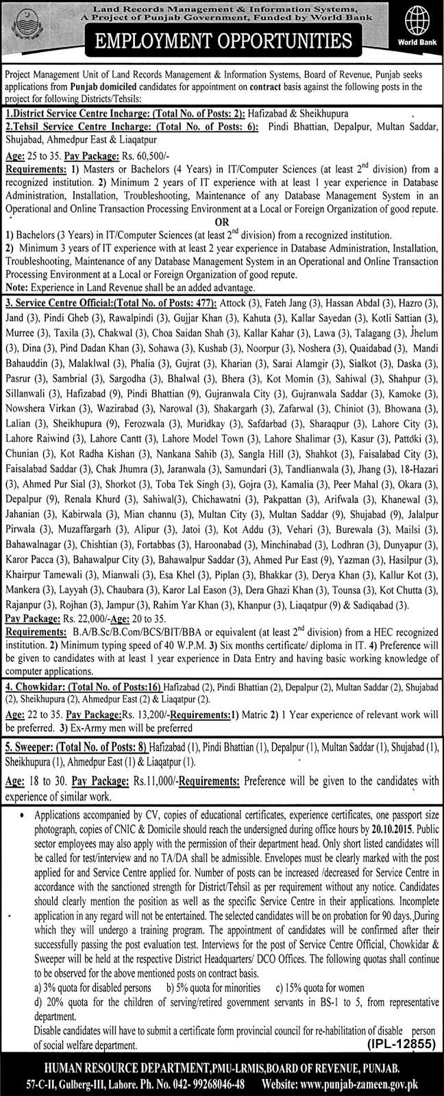 employment opportunities in board of revenue Punjab