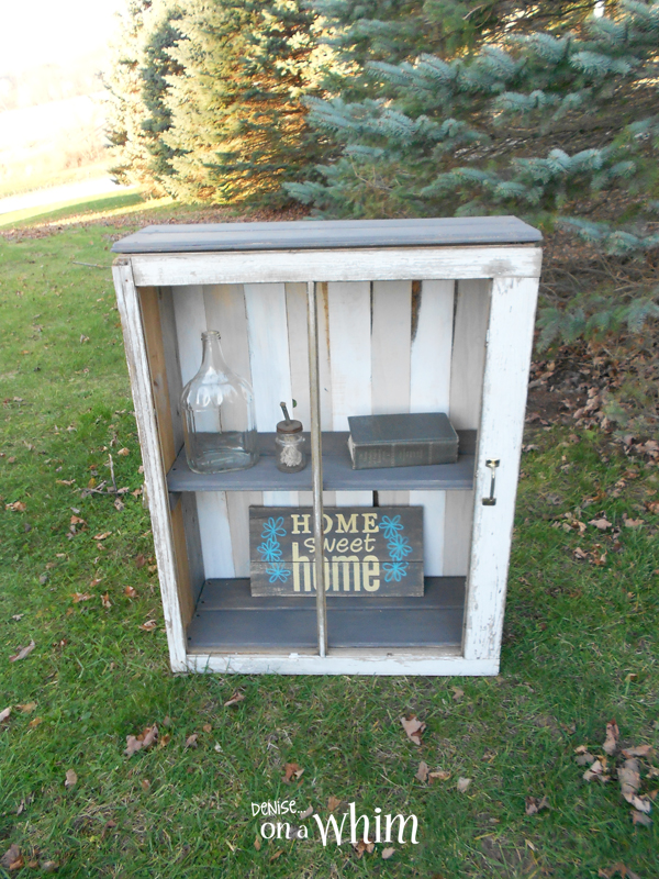 Cabinet Made from a Chippy Window, Weathered Wood Siding and NewBoards Painted in Neutral Colors | Denise on a Whim