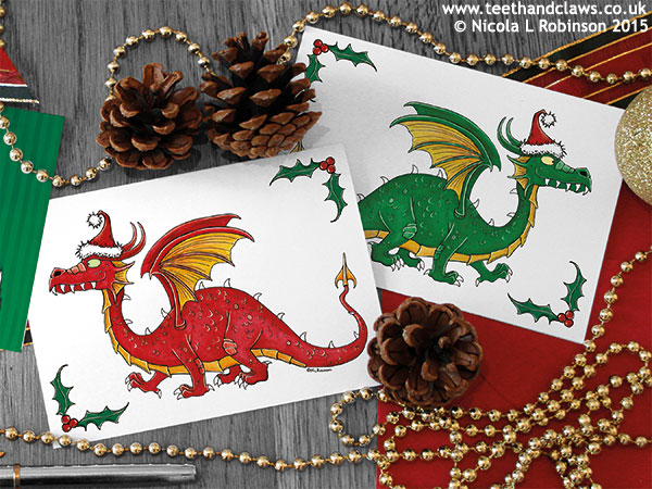 Dragon Christmas Cards © Nicola L Robinson 2015 www.teethandclaws.co.uk