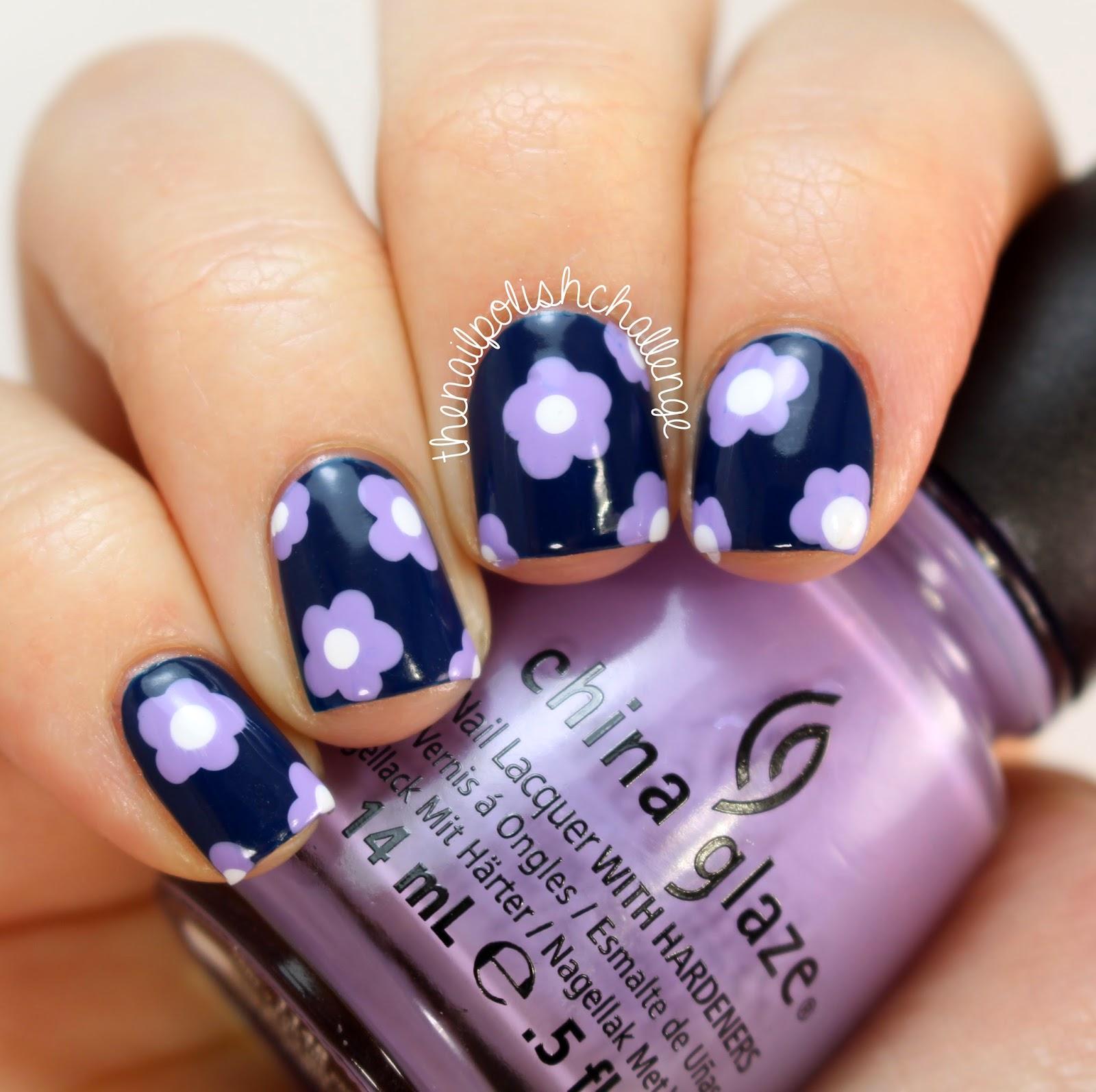 Kelli Marissa: Simple Lavender and Navy Flower Nail Art