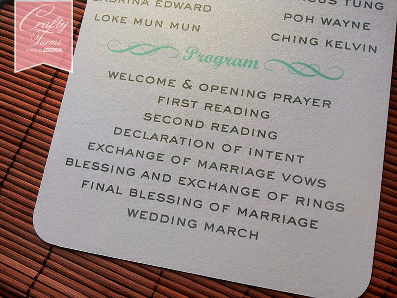 Wedding Program Flat Card for Church Ceremony Order of Service