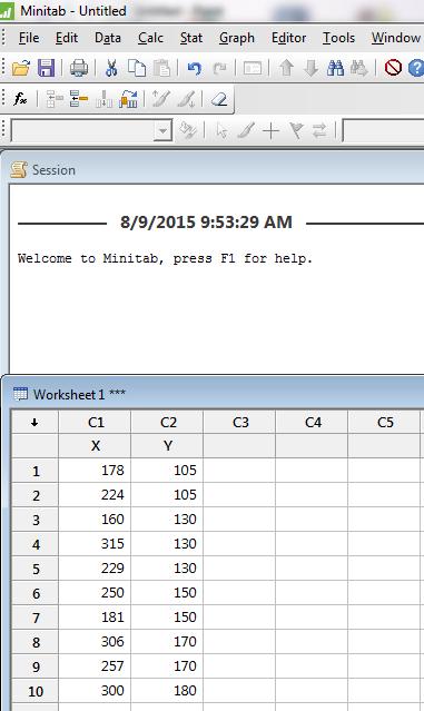 Data Minitab dari Contoh Soal 1