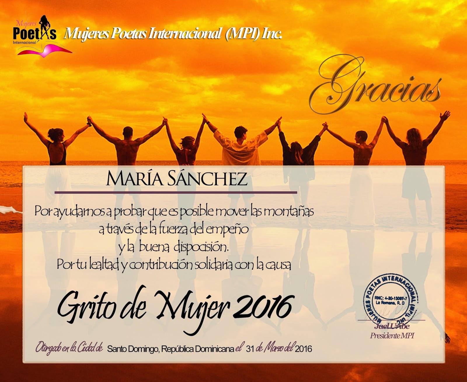 DIPLOMA DE GRATITUD, VI Festival grito de mujer2016