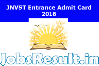 JNVST Entrance Admit Card 2016