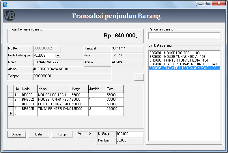 Membuat Form Transaksi Penjualan Barang VB 6.0 - Belajar VB