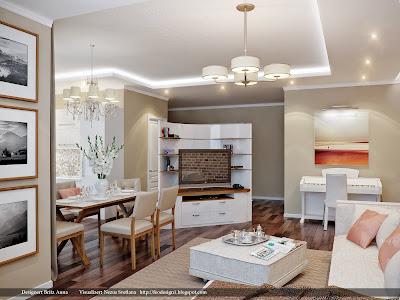 Визуализация гостиной и кухни