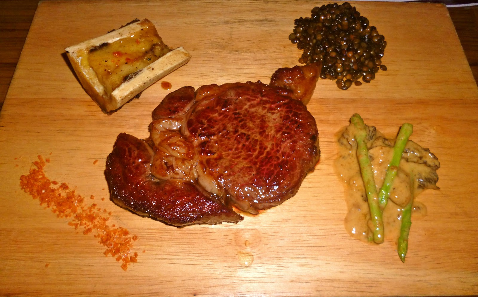 ... Dry-Aged Beef Steak, Asparagus-Morel Ragout, Bone Marrow, Stone Salt