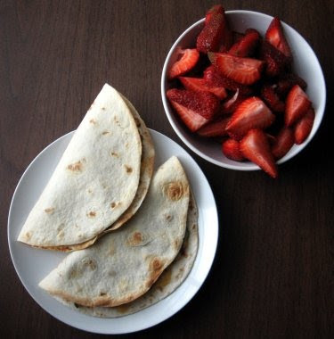 farmer's market strawberries and quesadillas