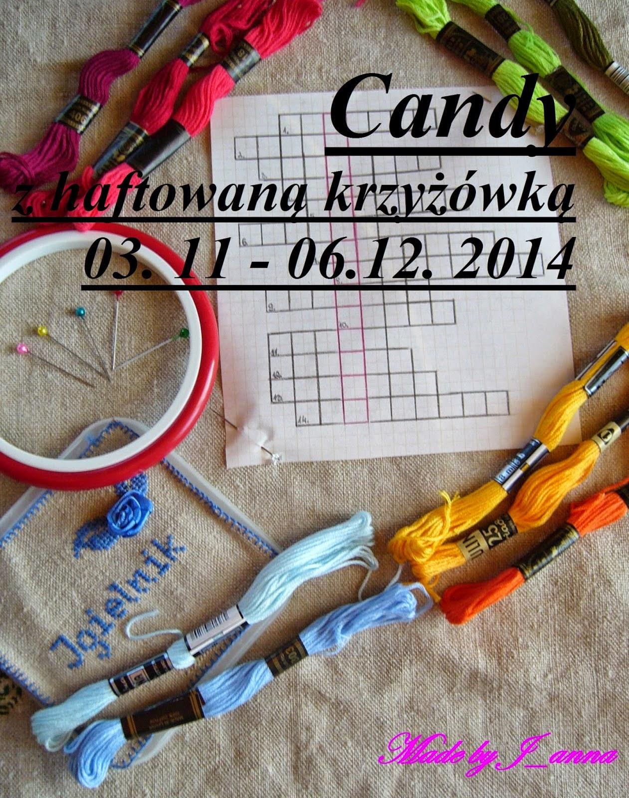 Candy z haftowaną krzyżówką :)