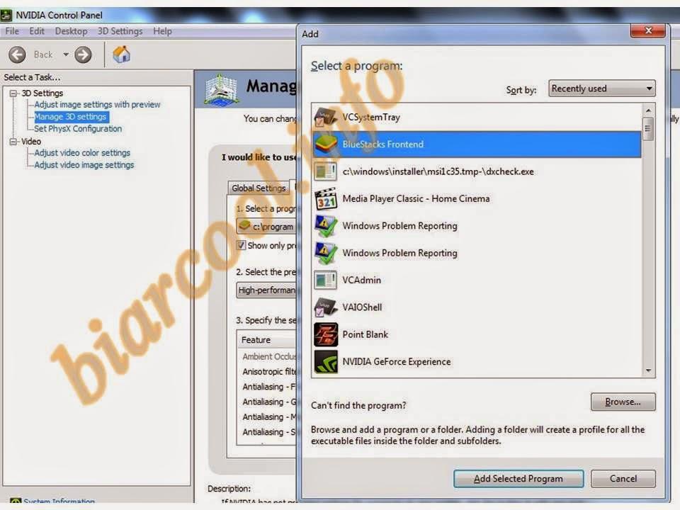 tips cara mengoptimalkan android emulator for pc windows via nvidia control panel line 1
