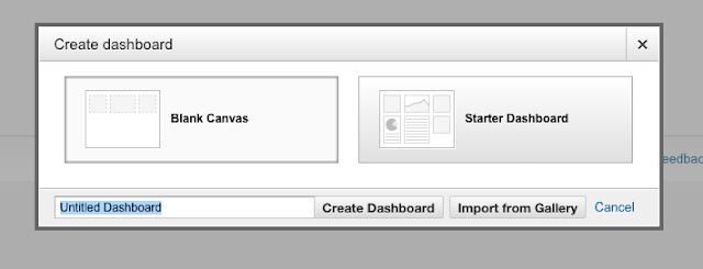 Create dashboard on GA