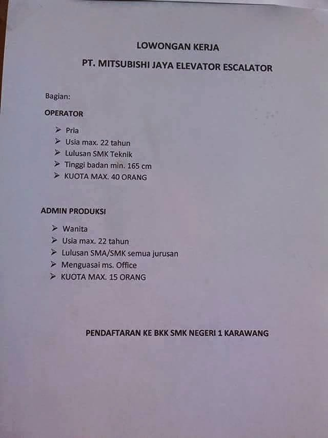 Lowongan Kerja SMA/SMK PT Mitsubishi Jaya Elevator Escalator