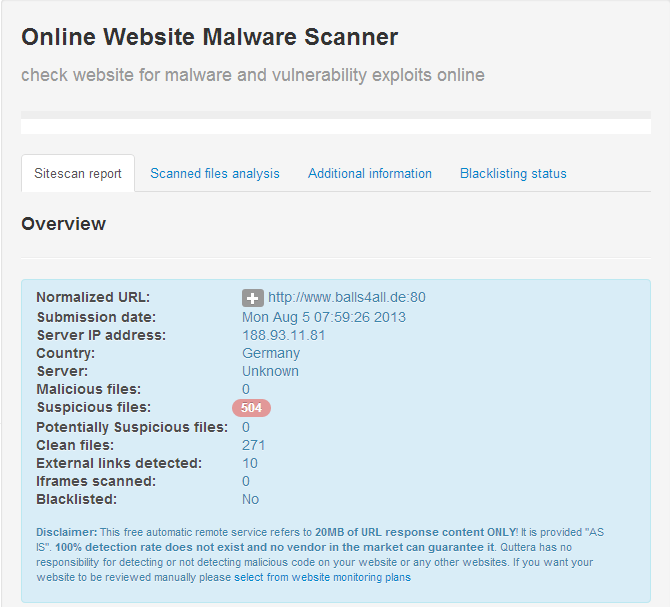 Quttera online Website Malware Scanner