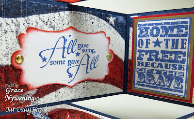 ODBD stamps, Some Gave All, Home of the Free, Old Flag Background, Bookmarks Eagles, designed by Grace Nywening