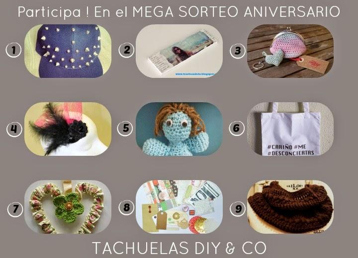 Con motivo del aniversario del blog se hace un mega sorteo con 9 regalos de artesanas ,incluida yo .