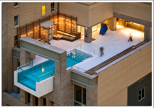Cool swimming pool on the roof, Dallas, Texas