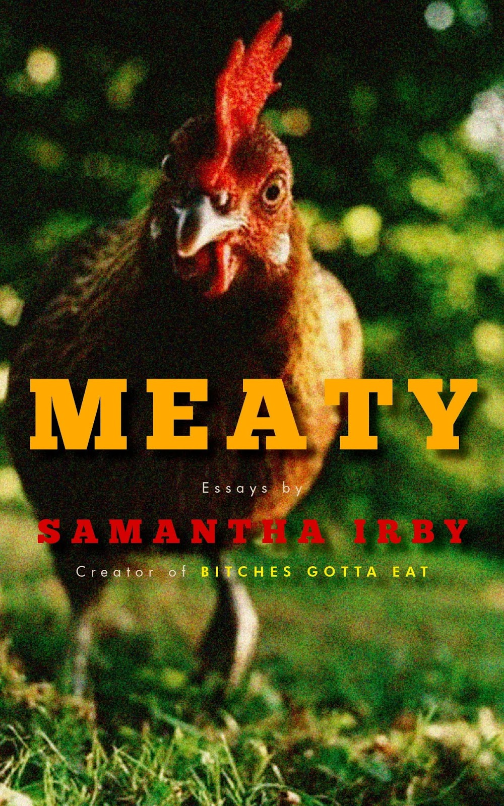 The cover of Meaty that features a photograph bewildered rooster on the cover.