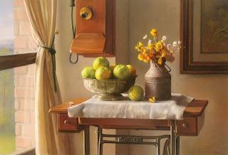 Jarrones con Flores Frutas Pintura