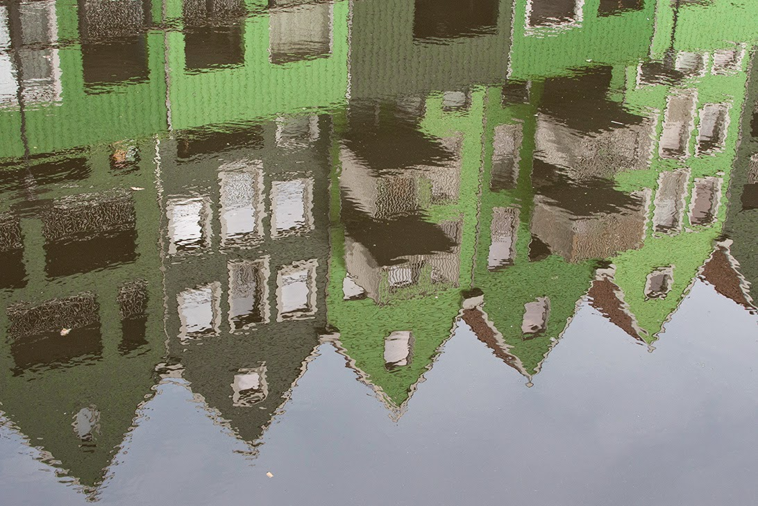 reflection of green houses in Zaandam