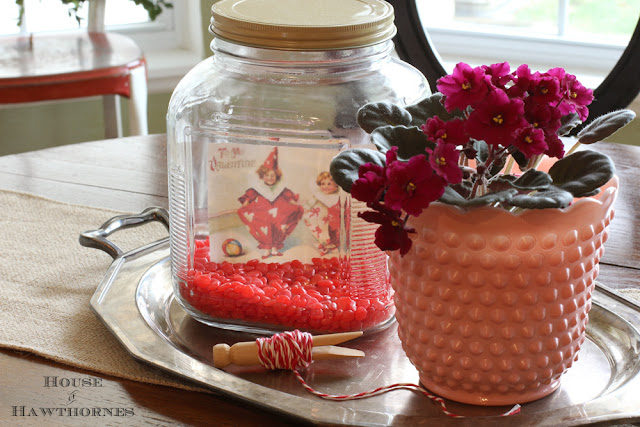 Cinnamon hearts in a jar for a super cute and easy five minute Valentine's Day craft for your home.