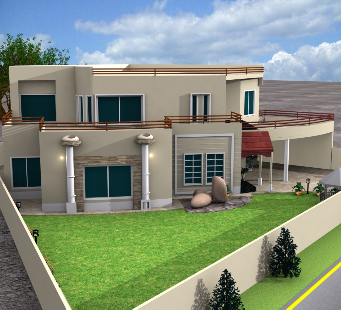 Latest Front Elevation : D front elevation european house plans one story