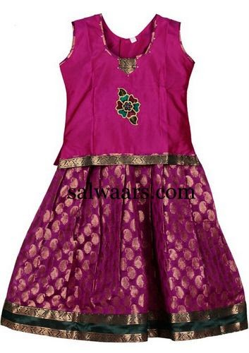 Purple Kids Skirt With Paisley Design