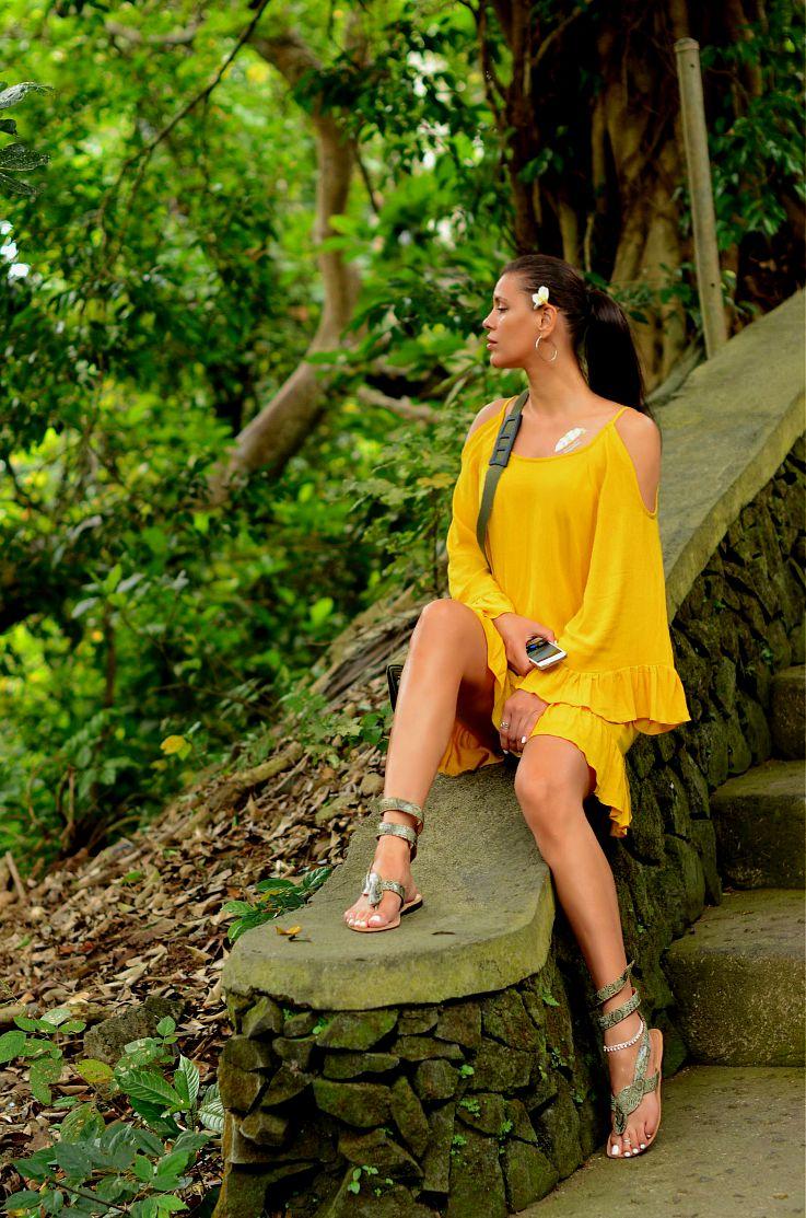 Monkey Forrest, yellow of the shoulder dress, Tamara Chloé, Bali, Indonesia, Ubud