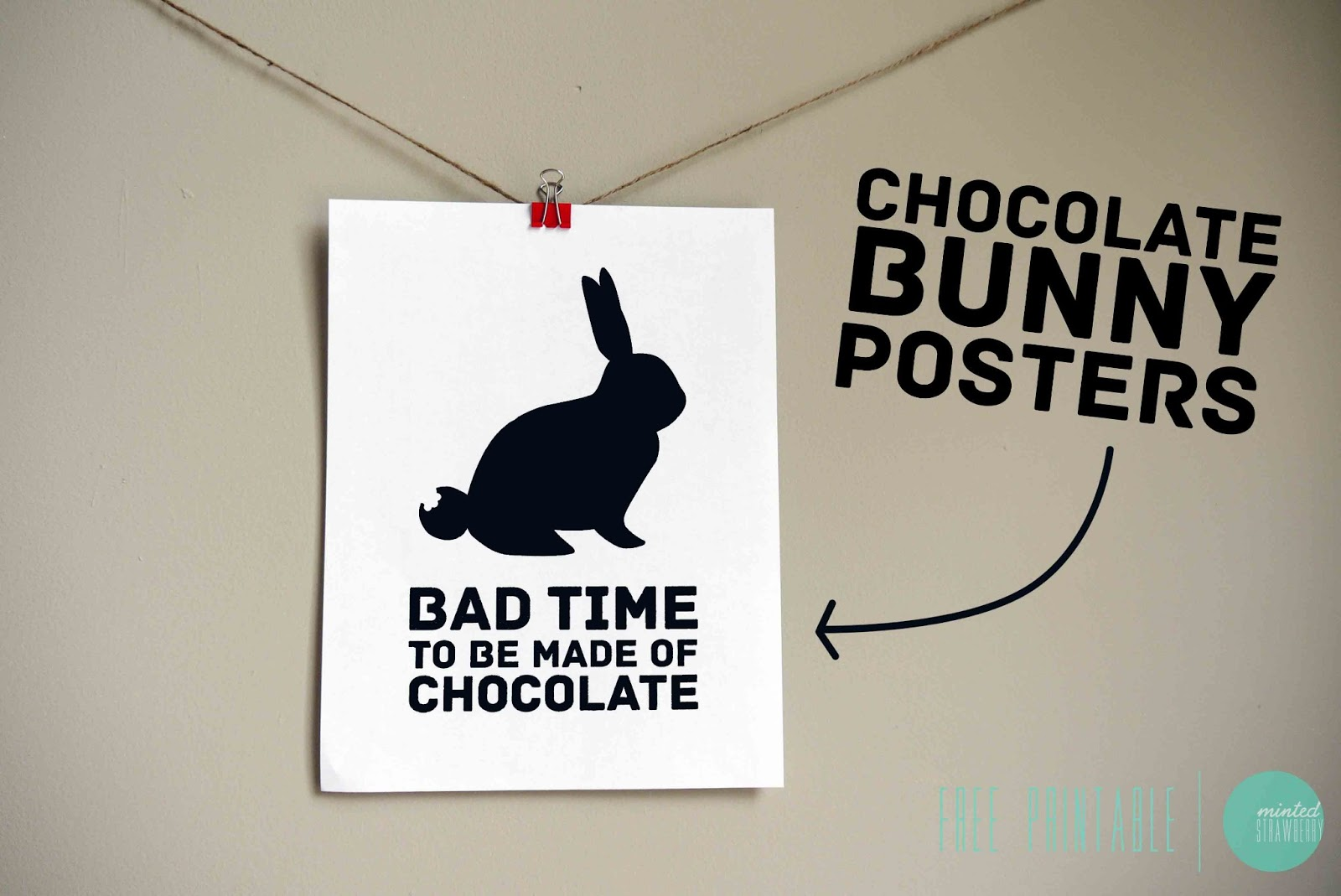 free printable chocolate bunny posters minted strawberry