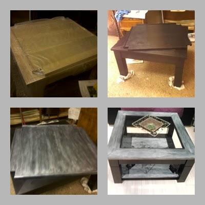 Muebles restaurados: mesa de salón color negro y plata