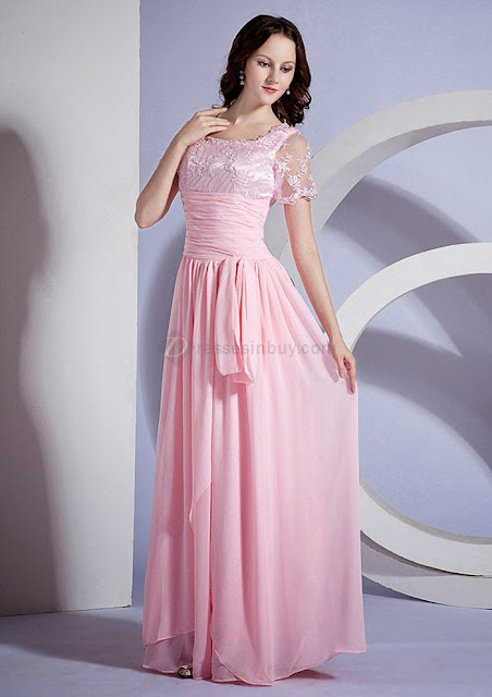 2013-2014 A Line Short Sleeves Square Neckline Pink Chiffon Floor Length Mother Of The Bride Dresses Evening Dresses 2013-2014