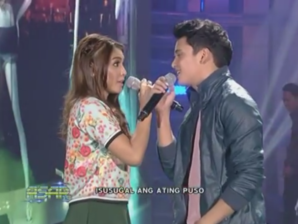 Nadine Lustre and James Reid performing Bahala Na on ASAP 19