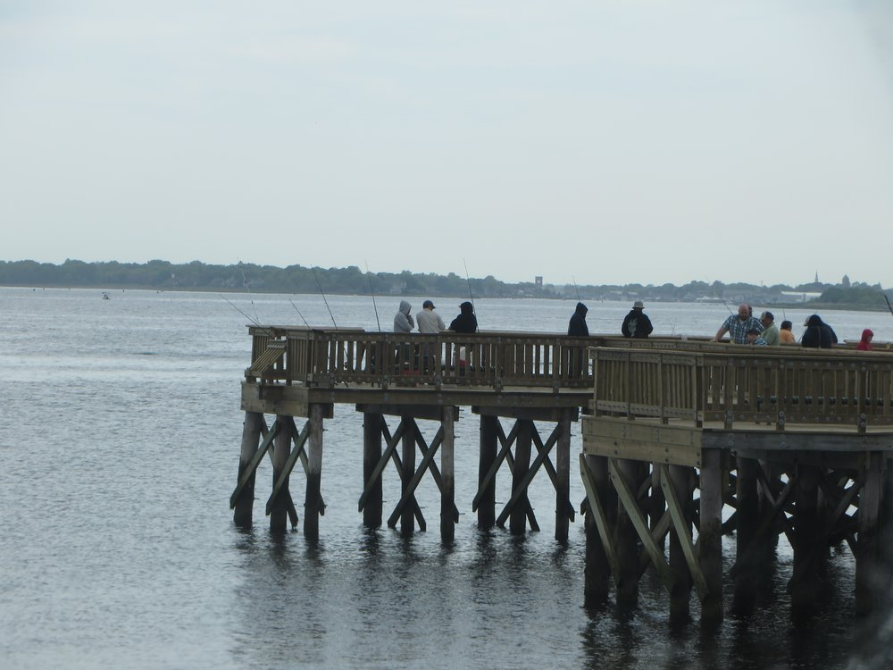 RI VETERANS HOME RESIDENTS GOING FISHING AT HANDICAP ACCESSIBLE COLT STATE PARK PIER ON WEDNESDAY AUGUST 19