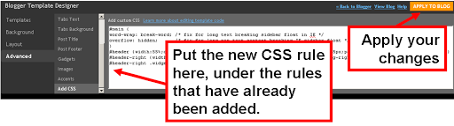 How to Adding a new CSS (formatting) rule to your blog's template