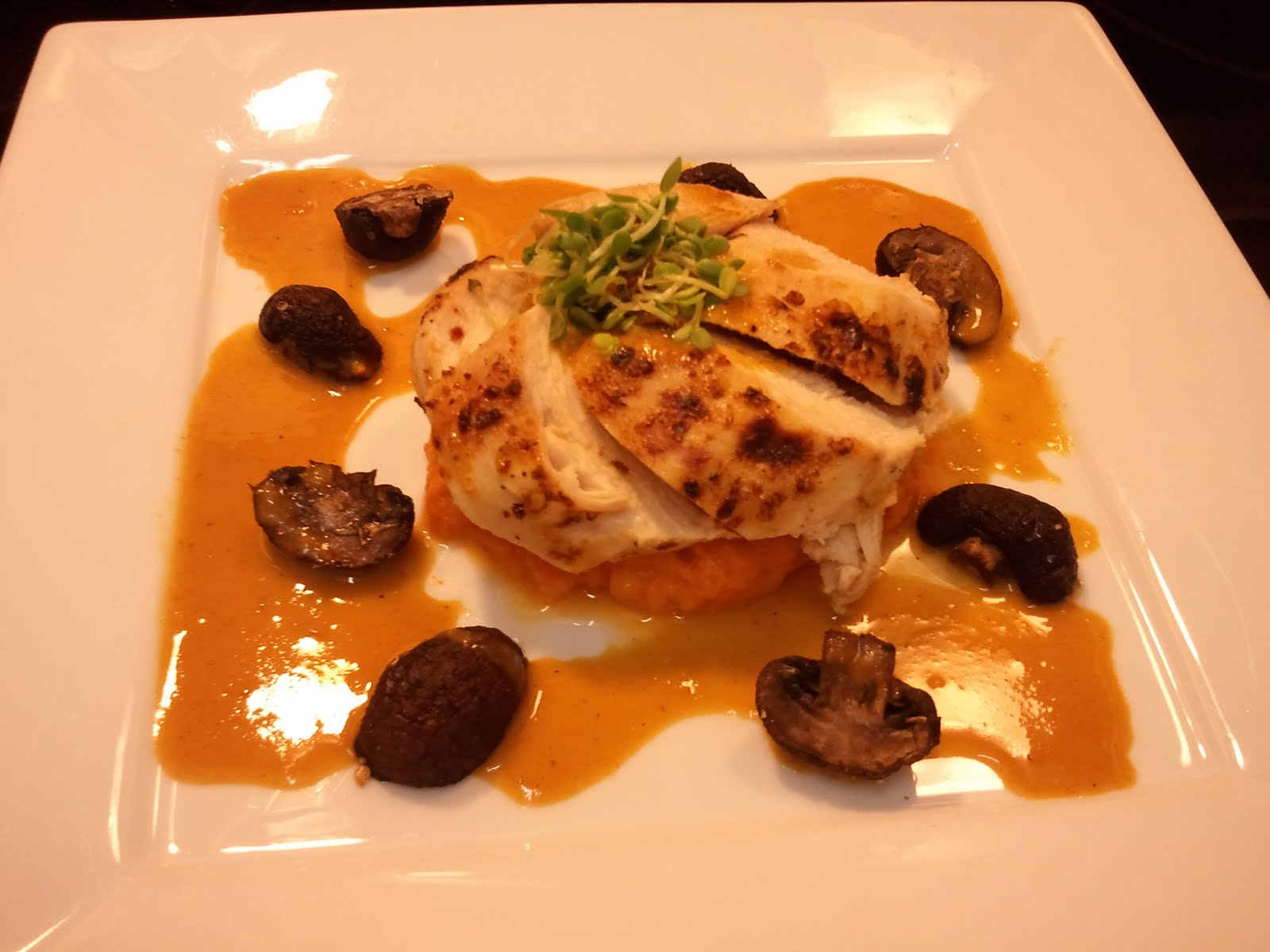 ... Broiled Chicken with Sweet Potato Mash and Roasted Crimini Mushrooms