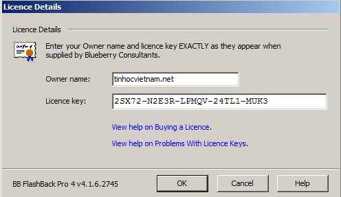 Serial Number BB FlashBack Pro