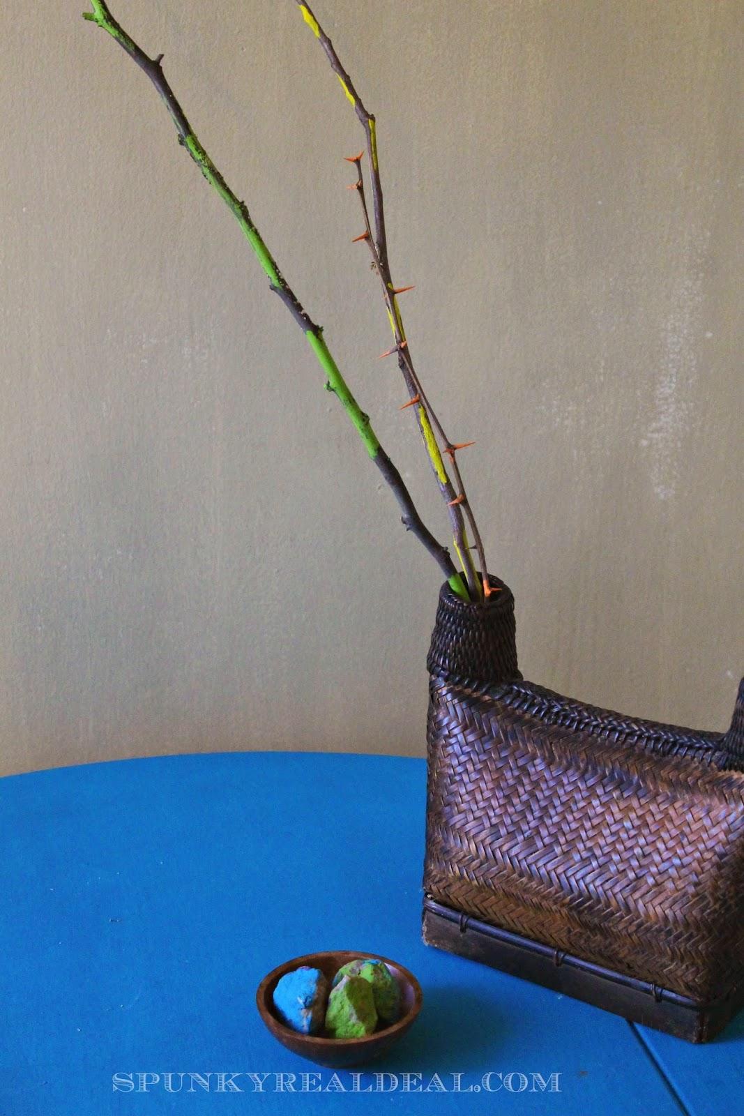 Bright & Rustic Spring Decor: Painted Sticks