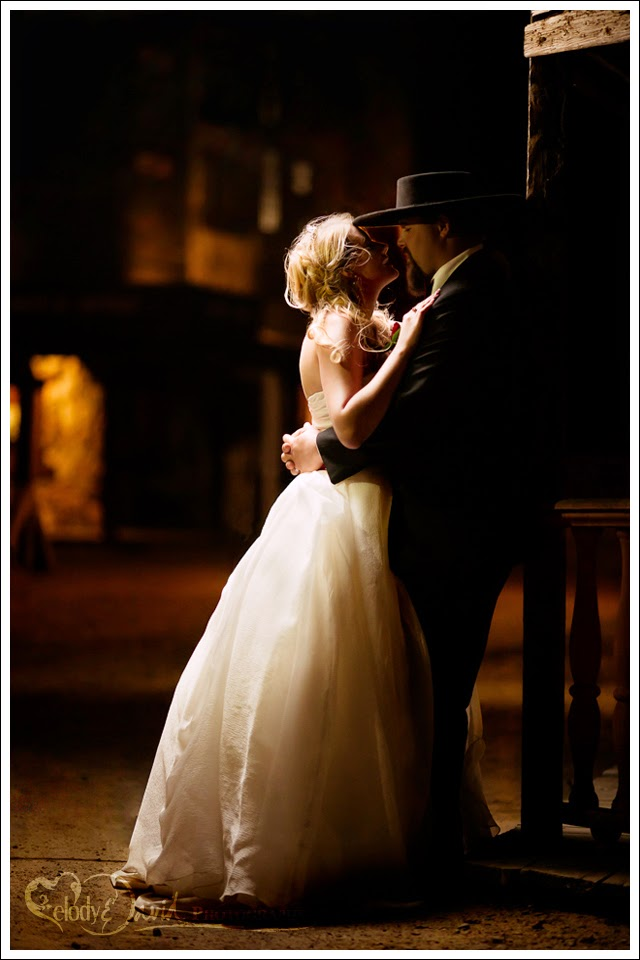 Country wedding, old western, wedding photo with a cowboy