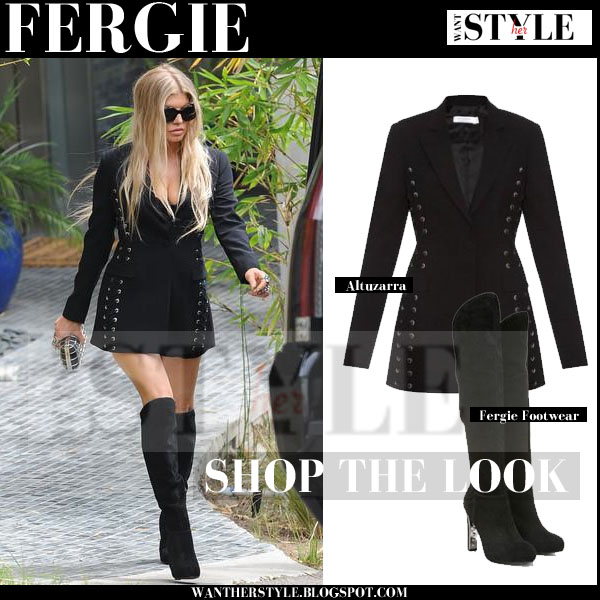 Fergie in black eyelet Altuzarra Merrie blazer with black suede over the knee Fergie Herbie boots streetstyle what she wore