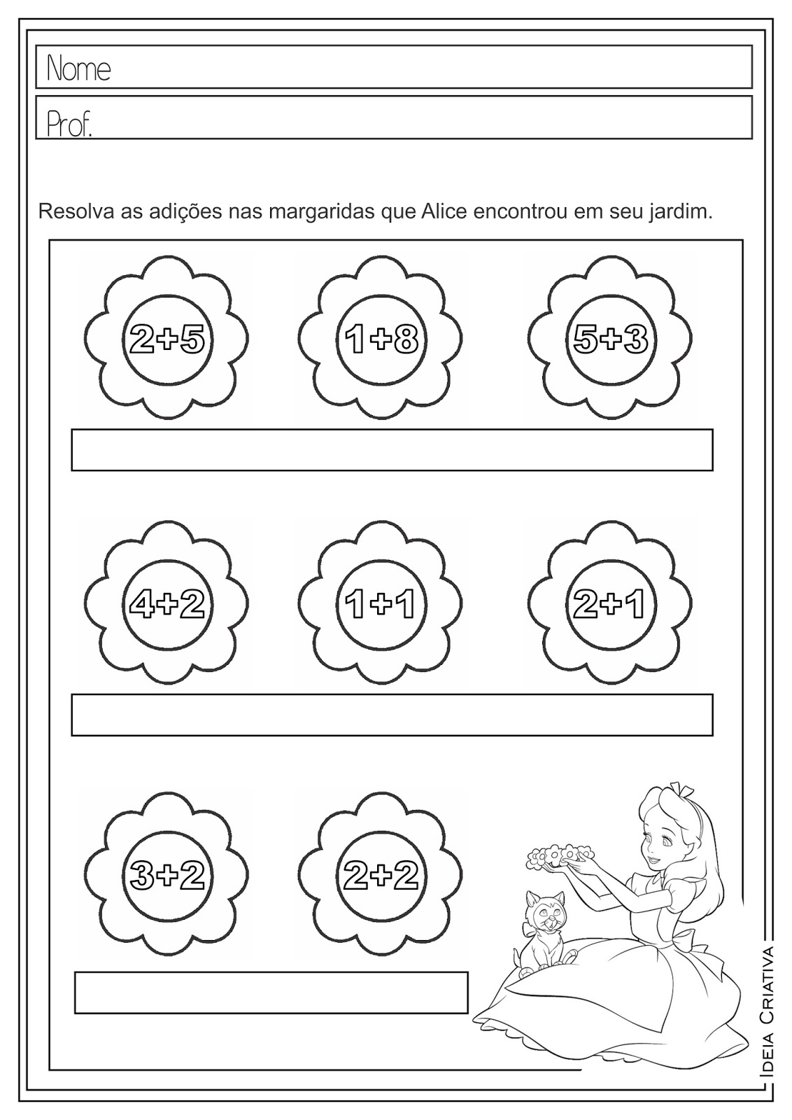 Atividades Educativas Matemática Operações Básicas (Adição e Multiplicação) Alice no País das Maravilhas para Ensino Fundamental